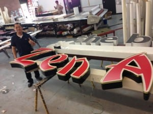 Man building a sign
